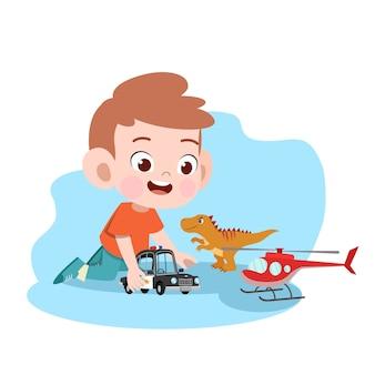 Kid jongen spelen auto speelgoed illustratie