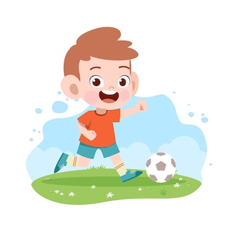 Kid jongen spelen voetbal voetbal illustratie