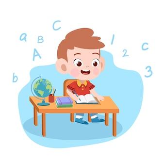 Kid jongen studie illustratie