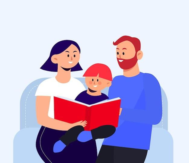Kid leesboek met ouders moeder en vader illustratie plat ontwerp print