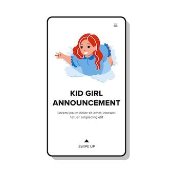 Kid meisje aankondiging kinderkleding vector. schoolmeisje kind aankondiging theater podium of circus. karakter kijkend door gescheurd papier gat reclame web platte cartoon afbeelding