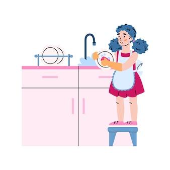 Kid meisje druk huishoudelijk werk op keuken kind afwas in gootsteen met kraan