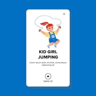 Kid meisje opleiding springtouw accessoire vector. kleine kleuter kind oefenen touwtje springen op de kleuterschool speelplaats. karakter sport oefening web platte cartoon afbeelding