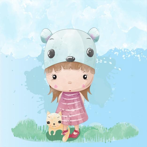 Kid meisje schattig karakter geschilderd met aquarellen vector premium