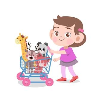 Kid meisje spelen speelgoed vectorillustratie geïsoleerd