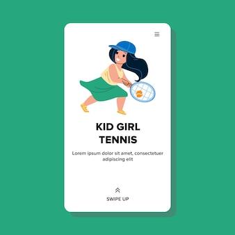 Kid meisje spelen tennis sport spel op hof vector. schoolmeisje kind tennissen met racket en bal met vriend. karakter sportieve activiteit en opleiding web flat cartoon afbeelding