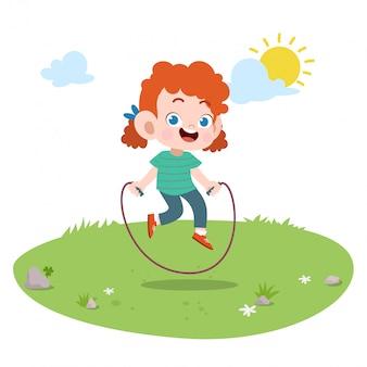 Kid meisje spelen touw