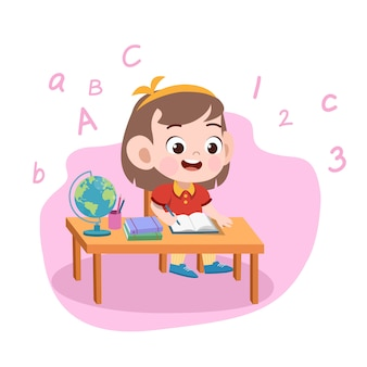 Kid meisje studie illustratie