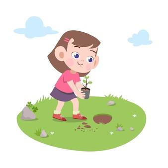 Kid meisje vegen bezem illustratie