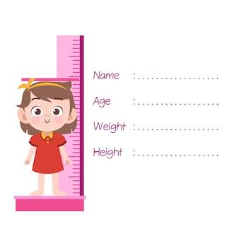 Kid meten hoogte vectorillustratie geïsoleerd