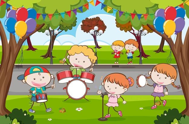 Kid muziekband in een park