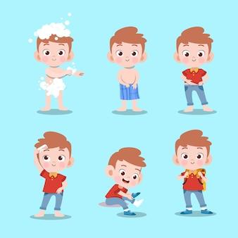 Kid nemen bad vectorillustratie geïsoleerd
