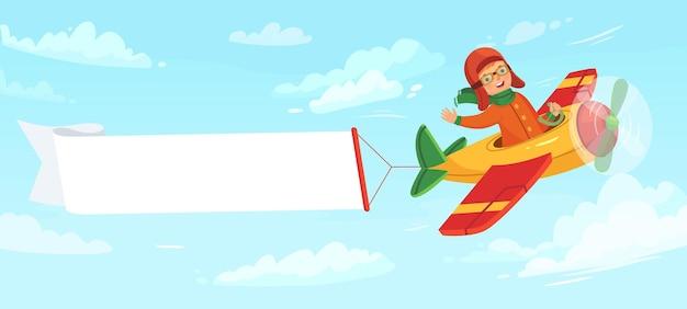 Kid op vliegtuig met banner. kindpiloot die in vliegtuig tussen wolken in hemel vliegt. kleine jongen met vlucht met lege banner met plaats voor tekst. luchtvaart vervoer vectorillustratie