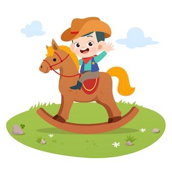 Kid paardrijden paard vectorillustratie geïsoleerd