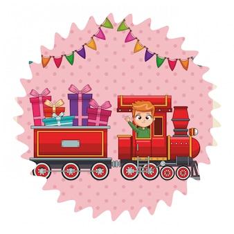 Kid paardrijden trein cartoon