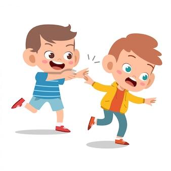 Kid pestkop vriend slecht gedrag niet goed