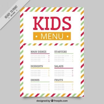 Kid's menu met gestreepte achtergrond