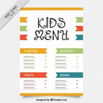 Kid's menu met kleurdetails