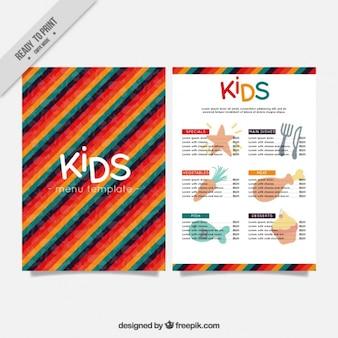 Kid's menu met kleurrijke achtergrond van strepen