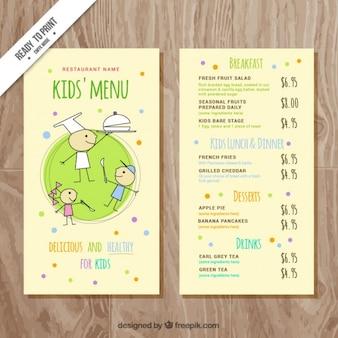 Kid's menu met kleurrijke punten