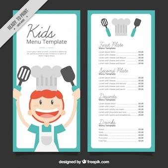 Kid's menu met lachende chef-kok en blauw frame