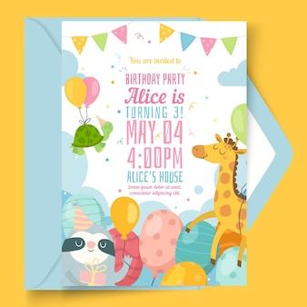 Kid's verjaardagskaartsjabloon
