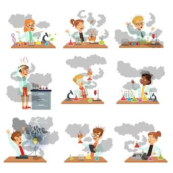 Kid scheikundigen tekens poseren in verschillende situaties op zoek vuil na mislukte chemische experimenten set illustraties op een witte achtergrond