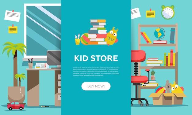 Kid shop banner voor bestemmingspagina