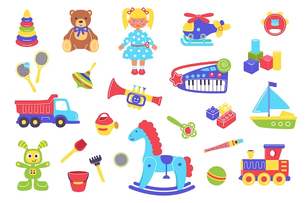 Kid speelgoed illustratie set