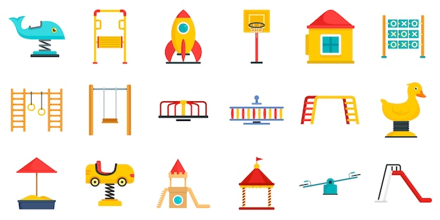 Kid speeltuin icon set