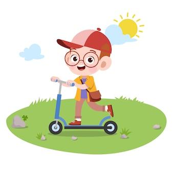 Kid spelen rit scooter vectorillustratie geïsoleerd