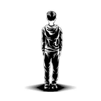 Kid stand weergave achter illustratie