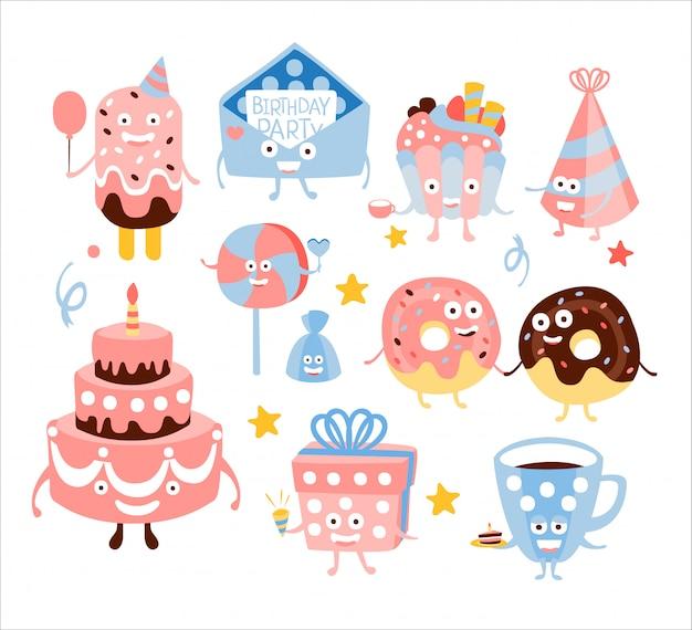 Kid verjaardagsfeestje snoep en attributen