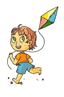Kid vliegende vlieger. geïsoleerde schattig kind jongen rennen en vliegende vlieger speelgoed. vector gelukkig kind persoon stripfiguur spelen. zomer buitenactiviteiten plezier en tekenen uit de kindertijd