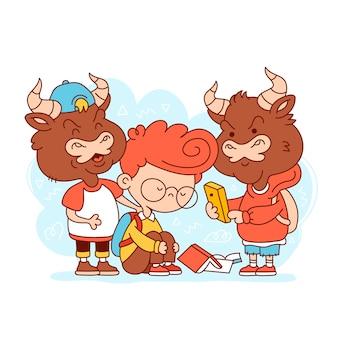 Kid wordt gepest. cartoon karakter platte lijn illustratie. geïsoleerd op witte achtergrond. pesten op school concept
