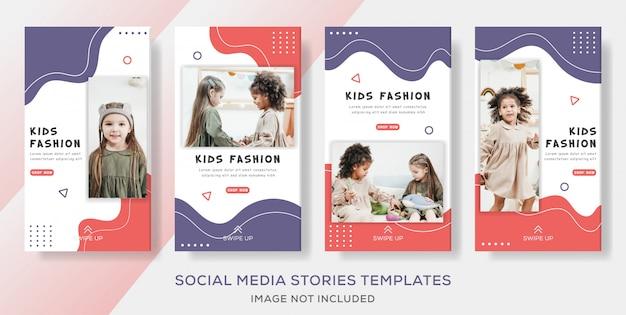 Kids banner template stories voor fashion sale