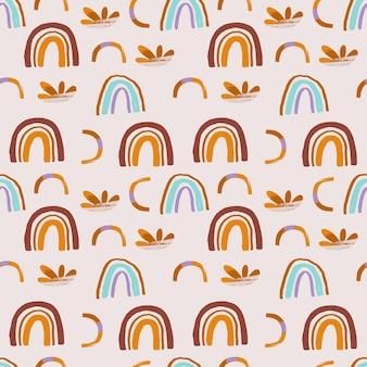 Kids boho naadloze patroon met regenboog