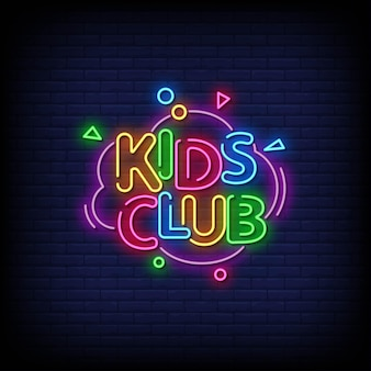 Kids club neon signs style text