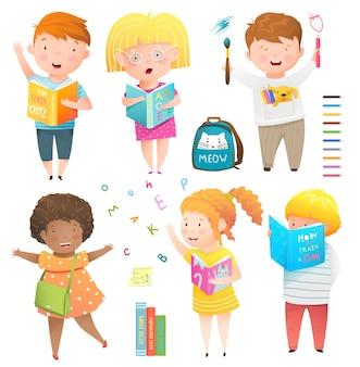 Kids collectie geïsoleerde clipart illustratie