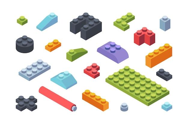 Kids constructor isometrische blokken set. veelkleurige tegels en onderdelen assemblage speelgoed modellen geometrische stroken verschillende vormen brede smalle ontwikkelingsbouwer voor kinderen.