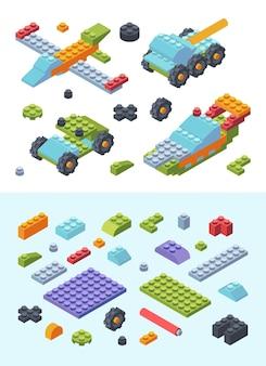 Kids constructor speelgoed isometrische set illustratie