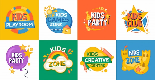 Kids game zone platte icoon collectie
