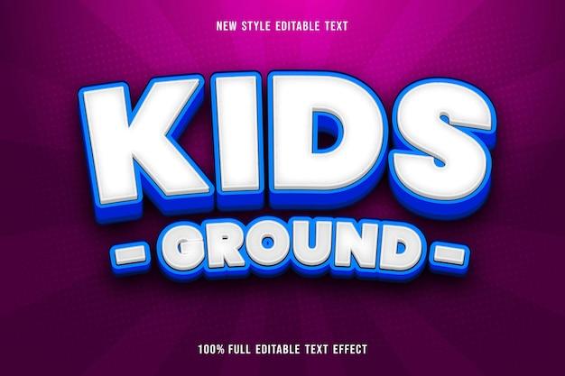 Kids grond bewerkbaar teksteffect kleur wit en blauw