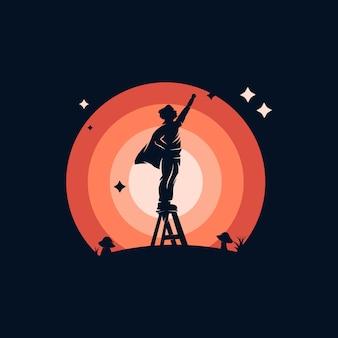 Kids heroes logo ontwerpsjabloon inspiratie