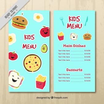 Kids menu flyer met grappige personages