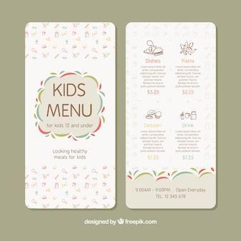 Kids menu met decoratieve pictogrammen