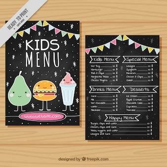 Kids 'menu met slingers en lachend eten