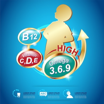 Kids omega 3 en vitamins vector
