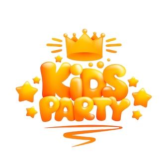 Kids party titel ontwerpsjabloon in 3d-cartoon stijl