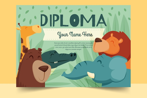Kids sjabloon voor diploma